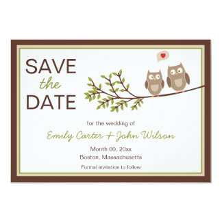 Cute Owls Save the Date Announcement