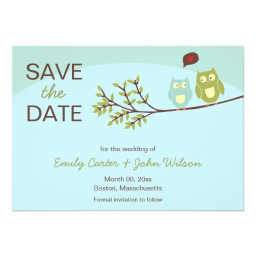 Cute Owls Save the Date Announcements