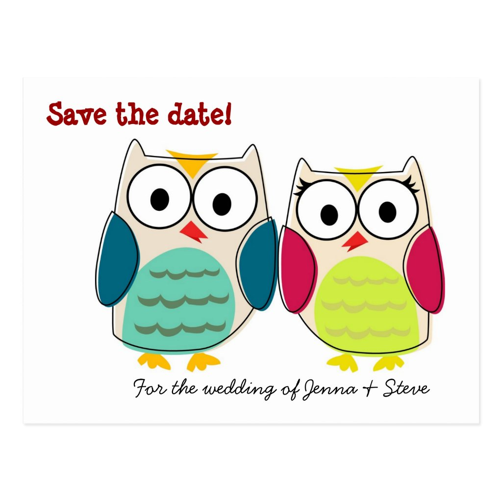 Cute Owls Save the Date 8 postcards.