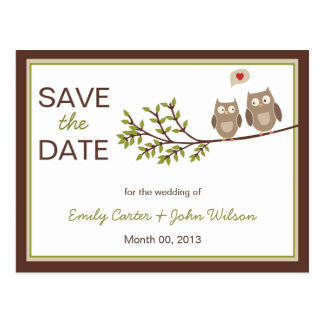 Cute Owls Save the Date Postcard