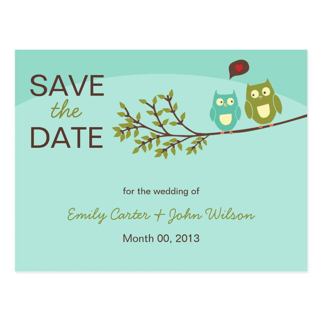 Cute Owls Save the Date Postcard 8 postcards.