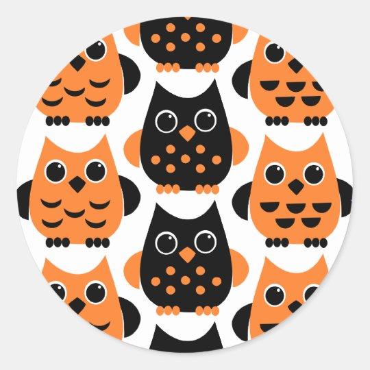 Cute Owls say BOO! Classic Round Sticker