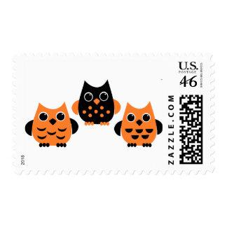 Cute Owls say BOO! Postage