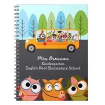 Cute Owls School Bus Personalized Teacher Notebook
