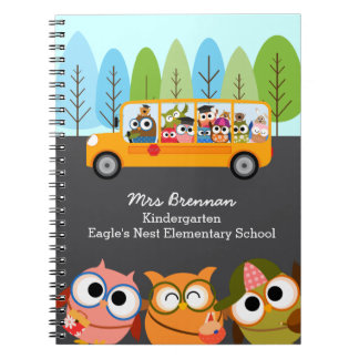 Cute Owls School Bus Personalized Teacher Spiral Notebook