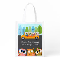 Cute Owls School Bus Teacher Appreciation Reusable Grocery Bag