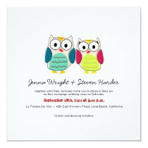Cute Owls, Square Wedding Invitation