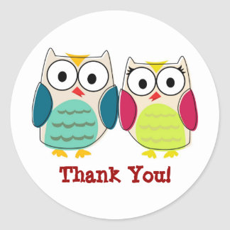Cute Owls Thank You Stickers