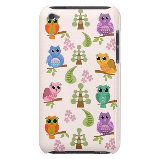 Cute owls, trees, flowers iPod touch case