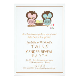 Cute Owls Twin Baby Gender Reveal Party Invitation
