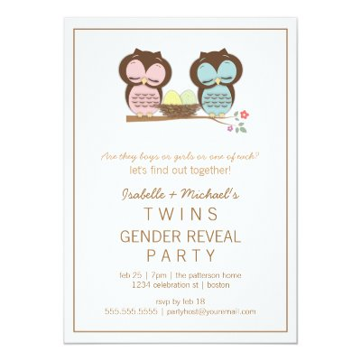 Cute Pink Owl Girl Baby Shower Invitations – Baby Gender Reveal Party Invitations