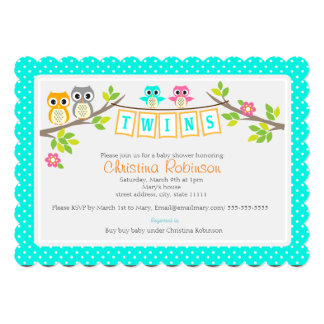 cute owls twin baby shower 5 x 7 invitation card
