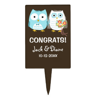 Cute Owls Wedding Congrats with Customizable Text Cake Topper