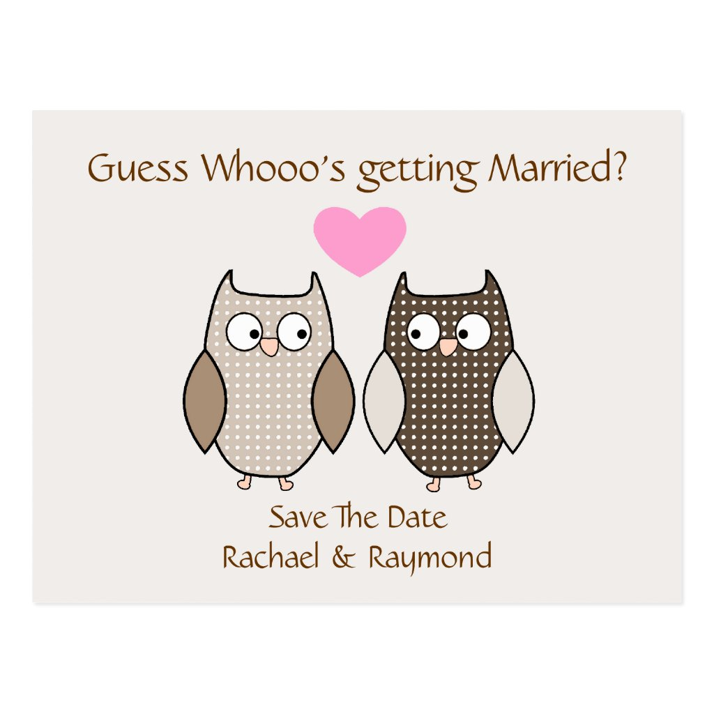 Cute Owls Wedding Save the Date Post Card 8 postcards.