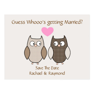 Cute Owls Wedding Save the Date Post Card