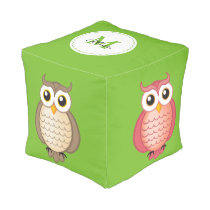 Cute Owls with Monogram Pouf