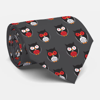 Cute owls with red, white eyes Halloween Neck Tie