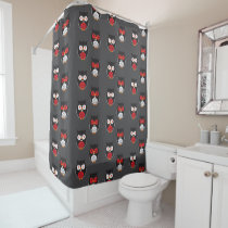 Cute owls with red, white eyes Halloween Shower Curtain