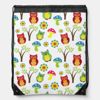 Cute Owls with Trees and Toadstools Drawstring Bag