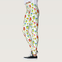 Cute Owls with Trees and Toadstools Leggings
