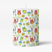 Cute Owls with Trees and Toadstools Pillar Candle