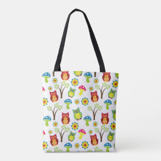 Cute Owls with Trees and Toadstools Tote Bag