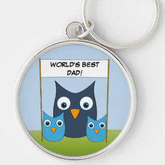 "Cute Owls - ""World's best Dad!"" - Father's Day Silver-Colored Round Keychain"