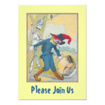 Cute OZ Tin Man Scarecrow & Party Pail Invitations
