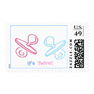 cute pacifiers , It's , Twins! - Postage