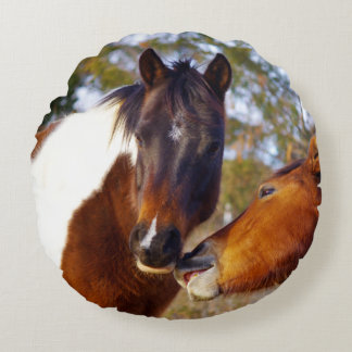 Cute Paint Horse Round Pillow