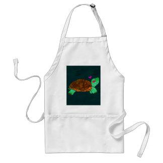 Cute Painted blocks Painted Turtle Adult Apron