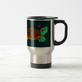 Cute Painted blocks Painted Turtle Travel Mug
