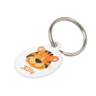 Cute painted tiger cat name and details pet tag