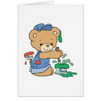 Cute Painter Bear Card