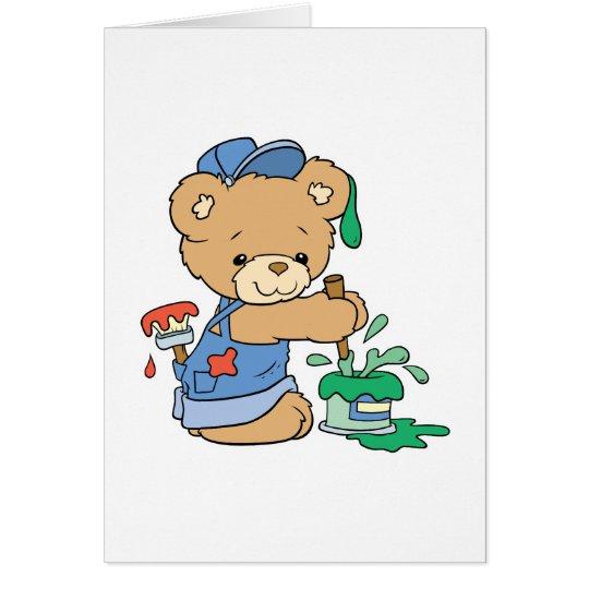 Cute Painter Bear Card