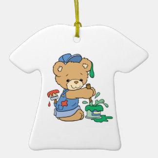 Cute Painter Bear Double-Sided T-Shirt Ceramic Christmas Ornament