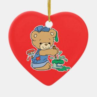 Cute Painter Bear Double-Sided Heart Ceramic Christmas Ornament