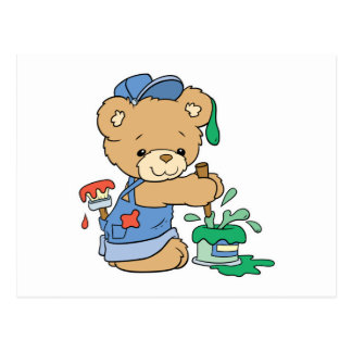 Cute Painter Bear Postcard