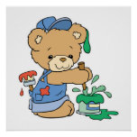 Cute Painter Bear Poster