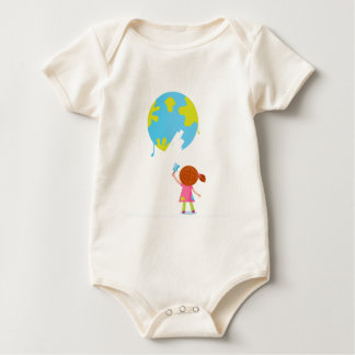 Cute painter girl : Original illustration Baby Bodysuit