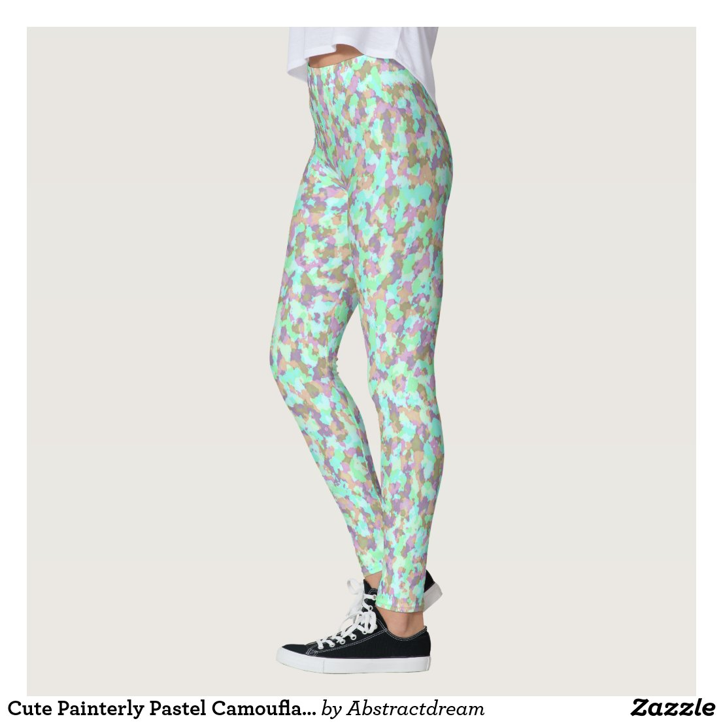 Cute Painterly Pastel Camouflage Leggings