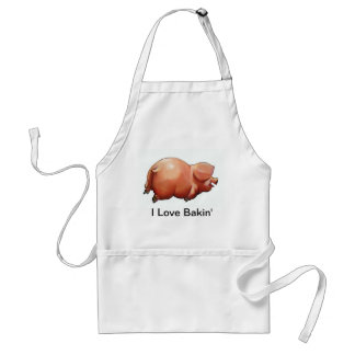 Cute Painting of Piggy: I Love Baking: Pun Adult Apron