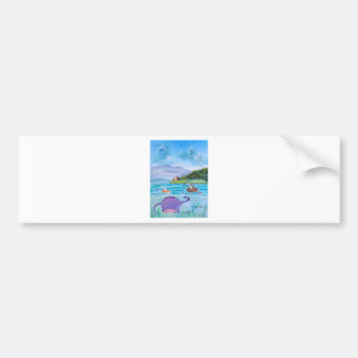 Cute painting of the Loch Ness monster Bumper Sticker