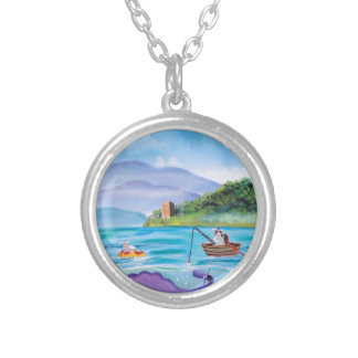 Cute painting of the Loch Ness monster Round Pendant Necklace