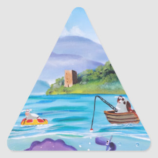 Cute painting of the Loch Ness monster Triangle Sticker