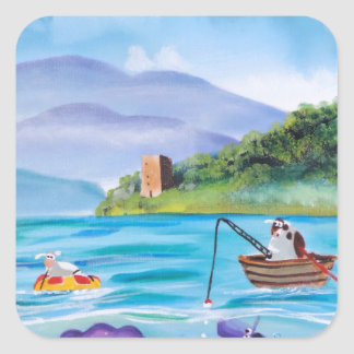 Cute painting of the Loch Ness monster Square Sticker