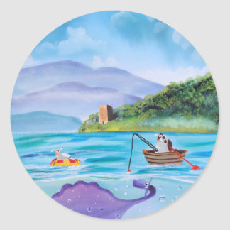 Cute painting of the Loch Ness monster Round Sticker