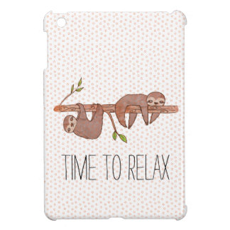 Cute pair of baby sloths on a tree branch iPad mini cover