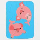 Cute Pair of Cartoon Merpigs Baby Blanket