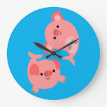 Cute Pair of Cartoon Merpigs Large Clock